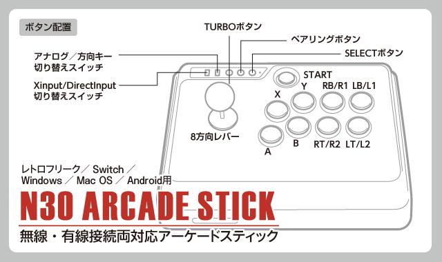 無線・有線接続両対応アーケードスティックN30 ARCADE STICK  ボタン配置