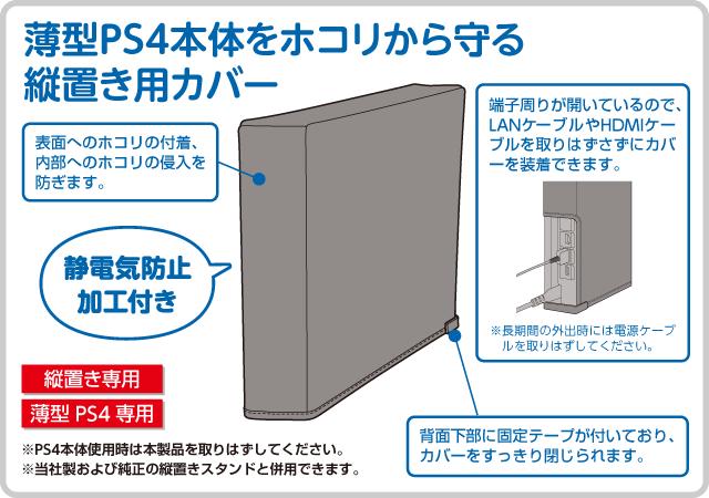 薄型PS4本体をホコリから守る 縦置き用カバー