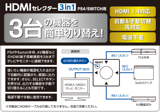HDMIセレクター 3in1(PS4/SWITCH用) 3台の機器を簡単切り替え!