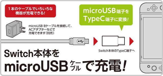 Switch本体をmicroUSBケーブルでで充電! microUSB B端子をTypeC端子に変換するコネクター