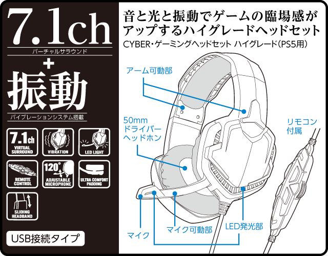 7.1chバーチャルサラウンド+振動バイブレーションシステム搭載 音と光と振動でゲームの臨場感が アップするハイグレードヘッドセット CYBER・ゲーミングヘッドセット ハイグレード(PS5用)