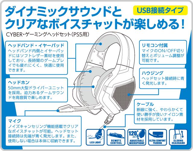 ダイナミックサウンドとクリアなボイスチャットが楽しめる! USB接続タイプ CYBER・ゲーミングヘッドセット(PS5用)