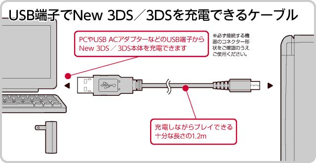 USB端子でNew 3DS/New 3DS LLを充電できるケーブル