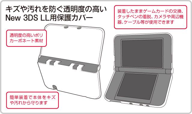 キズや汚れを防ぐ透明度の高い New 3DS LL用保護カバー