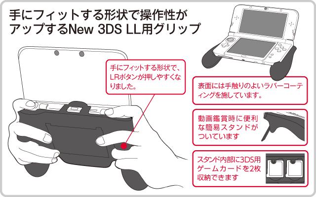 手にフィットする形状で操作性がアップする New 3DS LL用グリップ
