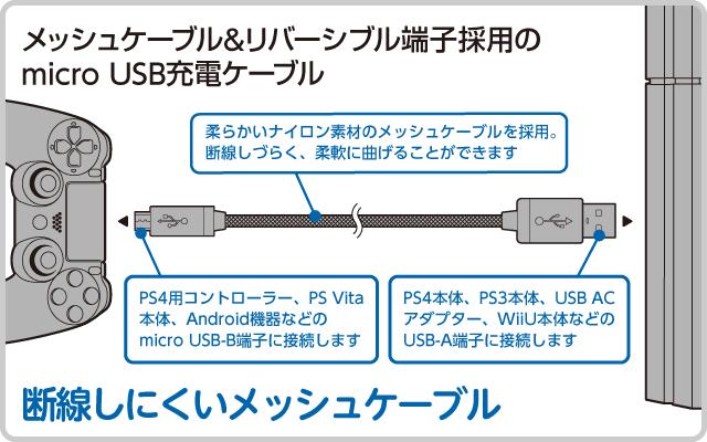 メッシュケーブル&リバーシブル端子採用の micro USB充電ケーブル
