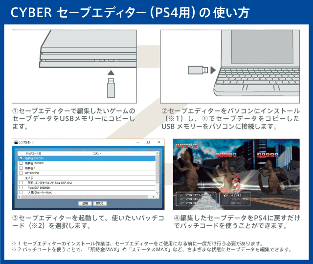 How to use CYBER save editor (for PS 4) Simple mode