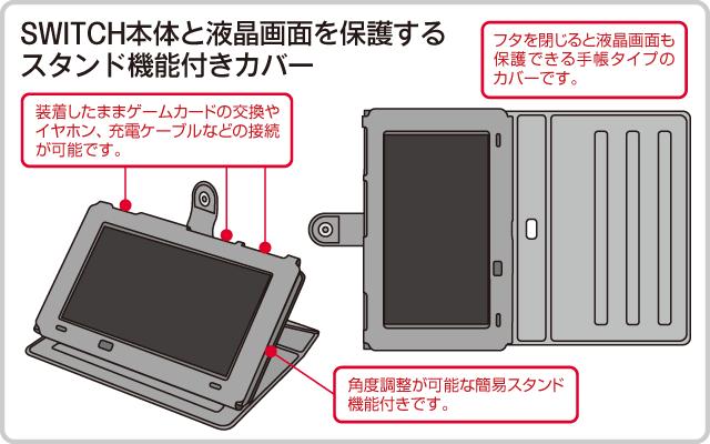 SWITCH本体と液晶画面を保護するスタンド機能付きカバー