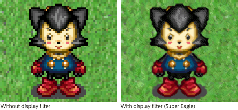 Right :Without display filter / Left : With display filter (Super Eagle)